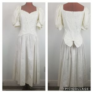 Vintage McClintock Ivory Lace trim Tea Dress Sz 12